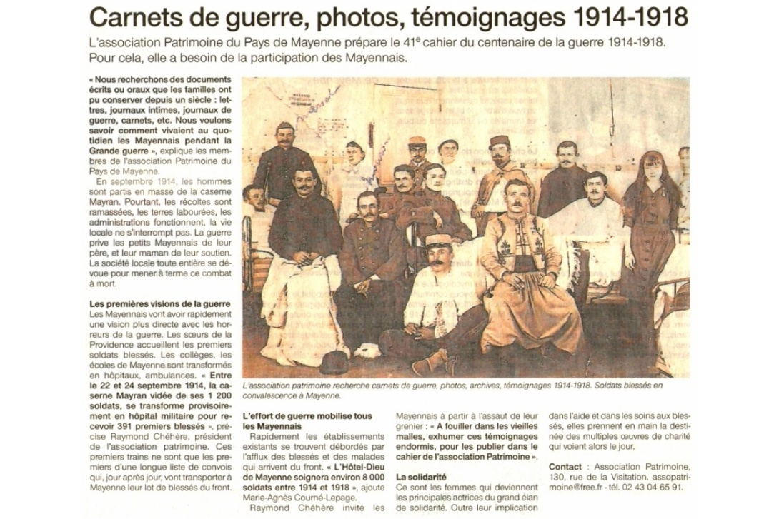 Cahier n° 41, Mayenne 1914-1918 - Ouest France, 19-20 octobre 2014